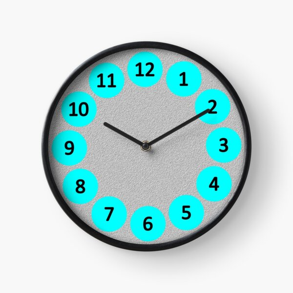 Aqua Bubbles on Grey with Numbers Clock