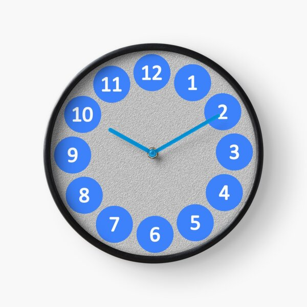 Big Blue Bubbles on Silver with Numerals Clock