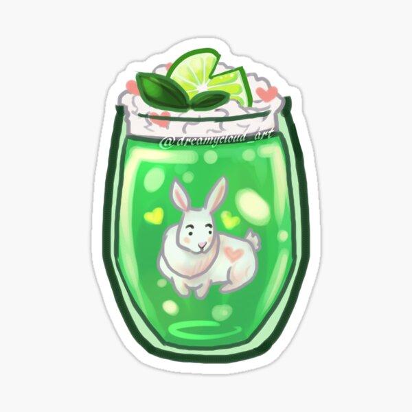 Sticker - Green Jello Dessert Drink with Heart Bunny Rabbit Pink Sticker