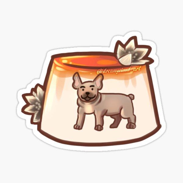 Sticker - Cream Flan Jello Dessert with Brown Tan Frenchie Pitbull Dog Sticker