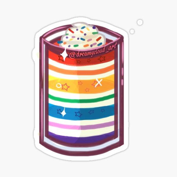 Sticker -  Rainbow Cream White Jello Dessert Whipped Cream Sprinkles Sticker