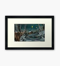 Bear in a winter scene Framed Print