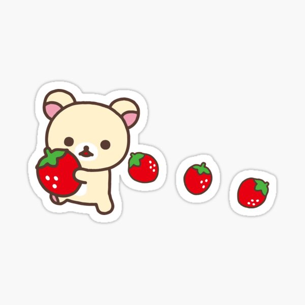 korilakkuma and strawberries Sticker