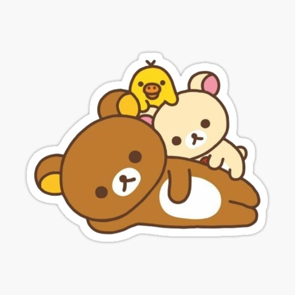 rilakkuma and friends laying Sticker