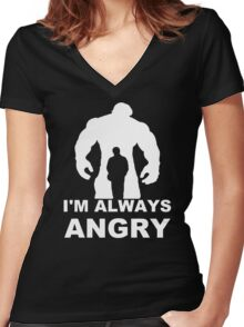 I'm Always Angry - Funny T-Shirt Short Sleeve 100% Cotton   Women's Fitted V-Neck T-Shirt