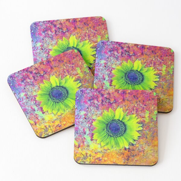 Abstract sunflower Coasters (Set of 4)