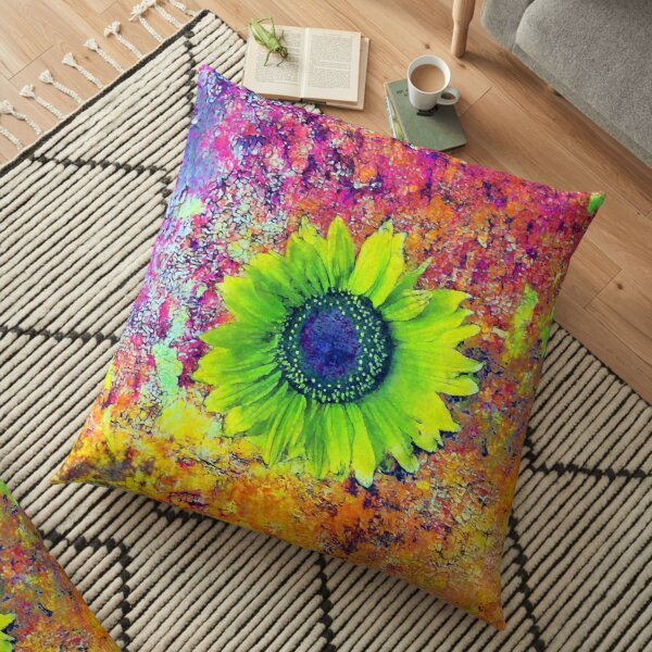 Abstract sunflower Floor Pillow