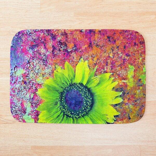 Abstract sunflower Bath Mat