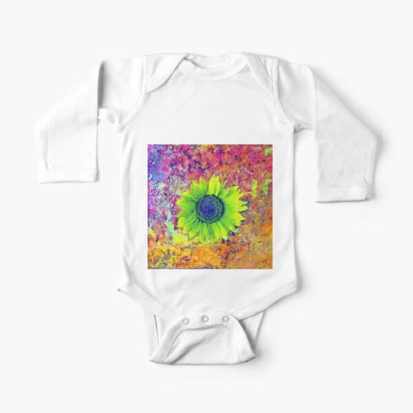 Abstract sunflower Long Sleeve Baby One-Piece