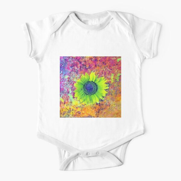 Abstract sunflower Short Sleeve Baby One-Piece