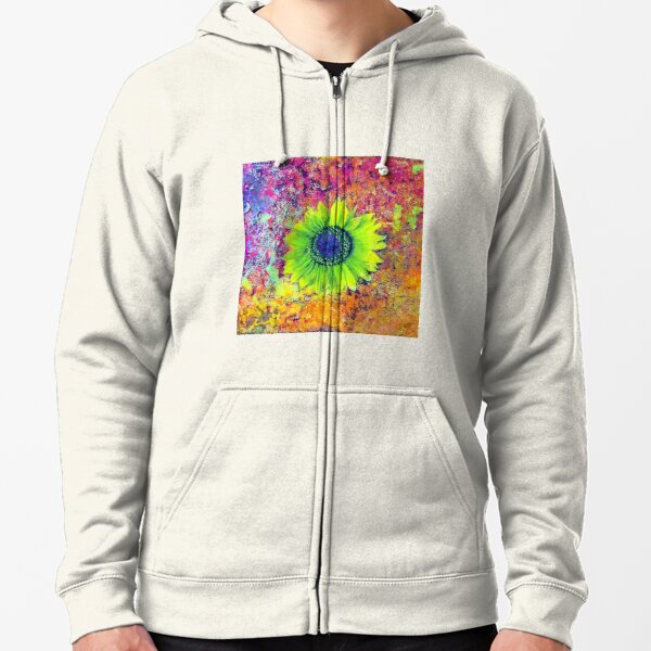Abstract sunflower Zipped Hoodie