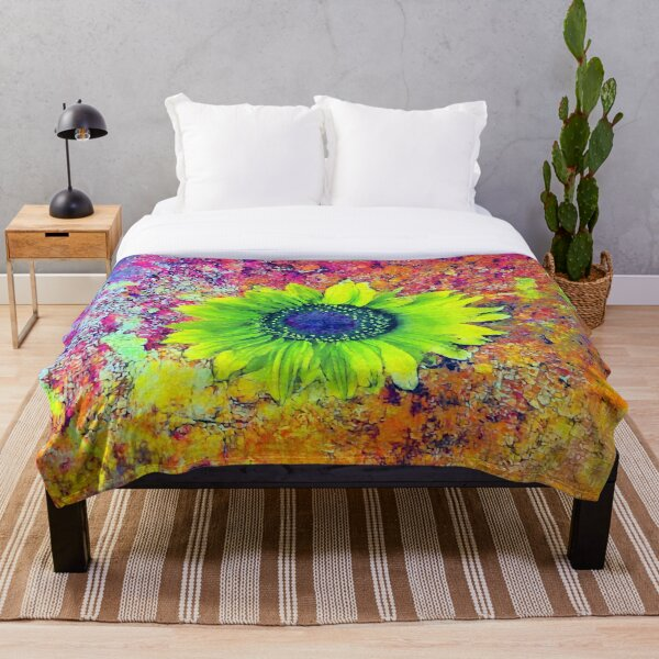 Abstract sunflower Throw Blanket