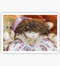 old doll fabric Sticker