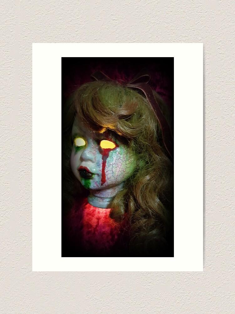 Alternate view of Lady Scream Zombie Horror Doll Head Light Art Print