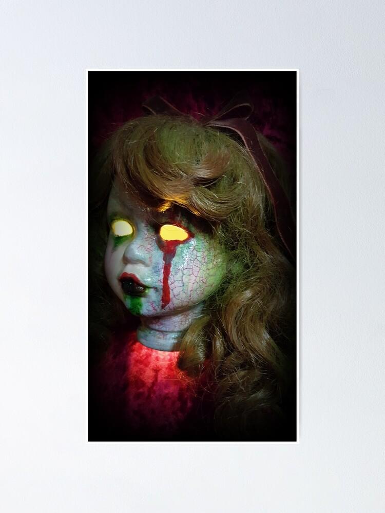 Alternate view of Lady Scream Zombie Horror Doll Head Light Poster