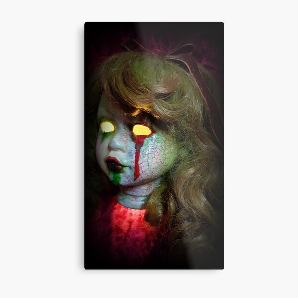 Lady Scream Zombie Horror Doll Head Light Metal Print