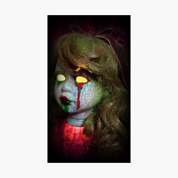 Lady Scream Zombie Horror Doll Head Light Photographic Print