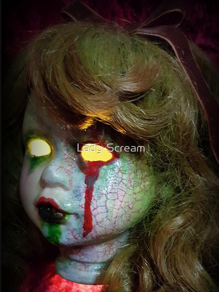 Lady Scream Zombie Horror Doll Head Light by Lady-Scream