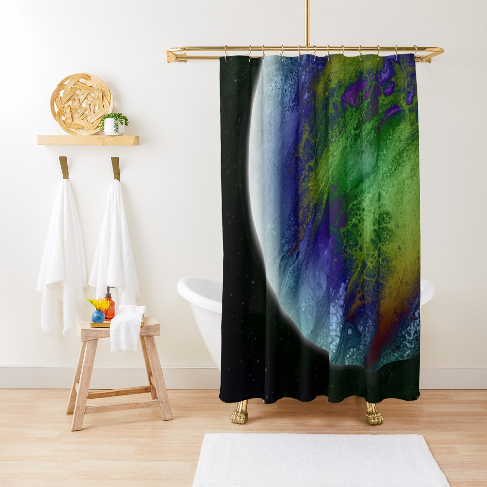 Planet Beta: Outer Space Planet Art Shower Curtain