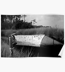 Abandoned - Wooden Boat Sunk in a Canal Poster