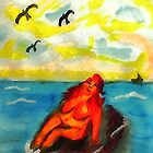Where can a person sunbathe in privacy,,,watercolor by Anna  Lewis, blind artist
