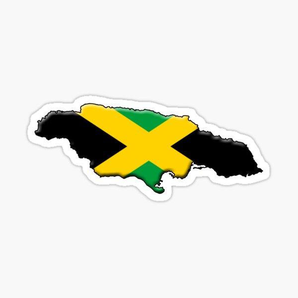 Jamaika Flagge und Umriss Sticker