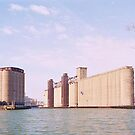 Grain elevators on the Buffalo River by Ray Vaughan