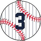 Number 3 Pinstripe Baseball Design by canossagraphics