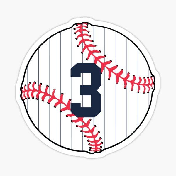 Number 3 Pinstripe Baseball Design Sticker