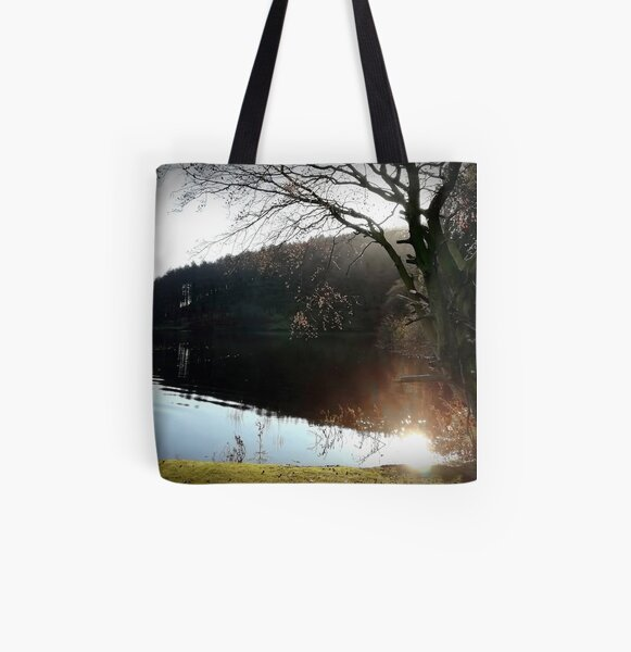 Calm Water - Derwent Reservoir, Derbyshire Peak District, U.K. All Over Print Tote Bag