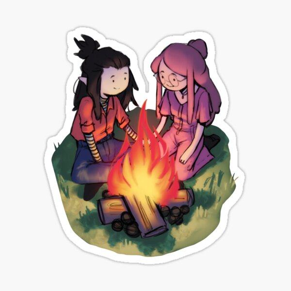 Marceline and Princess Bubblegum sitting by the campfire Sticker