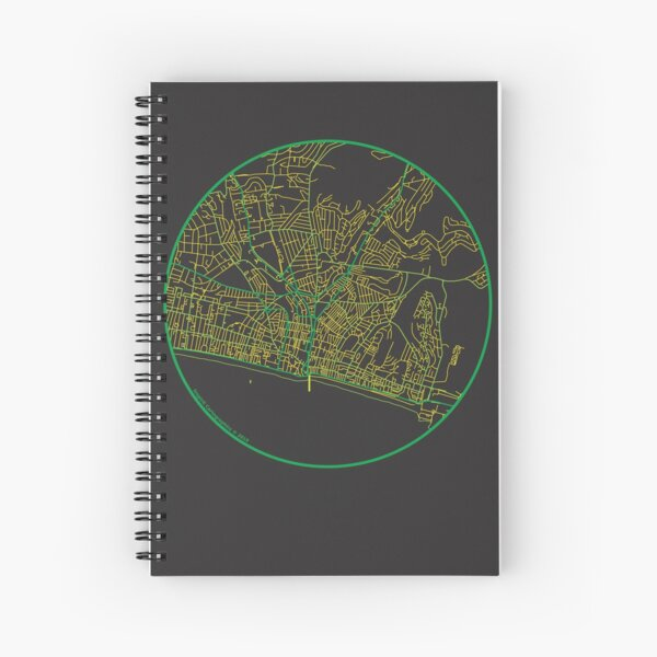 Brighton in Green and Yellow Spiral Notebook