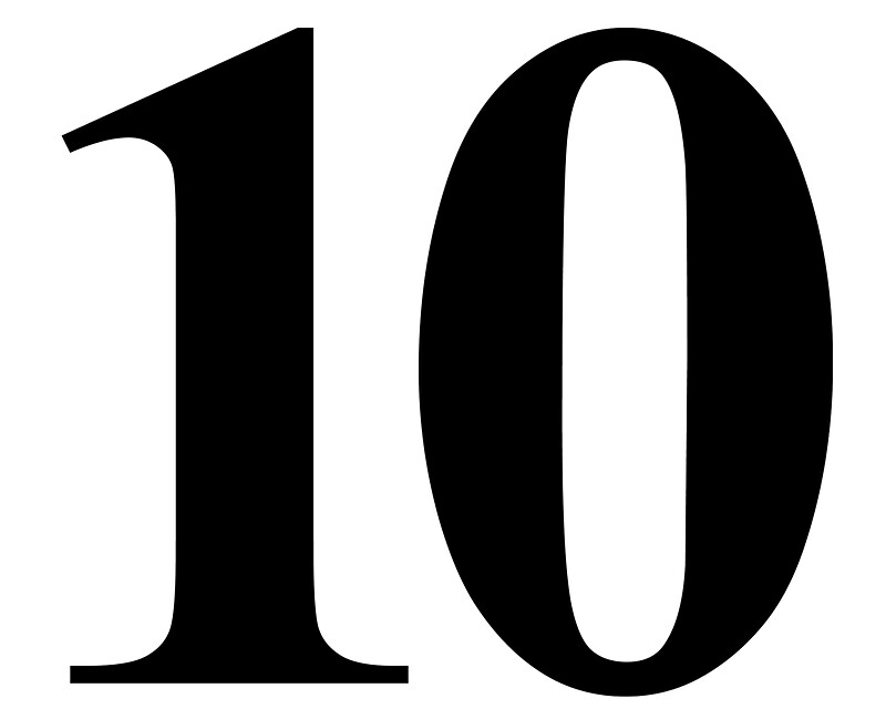 """Number 10 in Black Times New Roman Serif Font Typeface"""" Stickers by ..."""