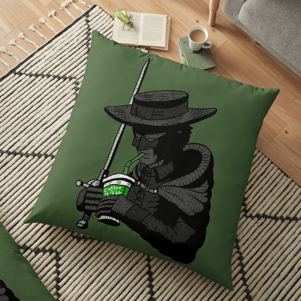 zorro, justice, no.. coffee for all. masked hero. Floor Pillow