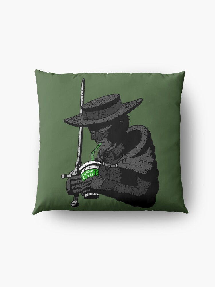 Alternate view of zorro, justice, no.. coffee for all. masked hero. Floor Pillow