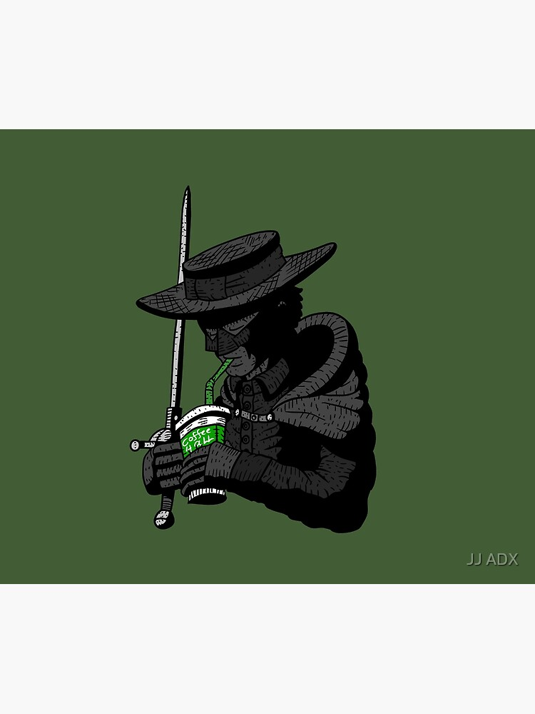 zorro, justice, no.. coffee for all. masked hero. by jjartanddrawing