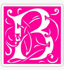Letter 'B' in Vintage Monogram Pink Retro Script Sticker