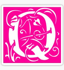 Letter 'Q' in Vintage Monogram Pink Retro Script Sticker