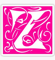 Letter 'Z' in Vintage Monogram Pink Retro Script Sticker