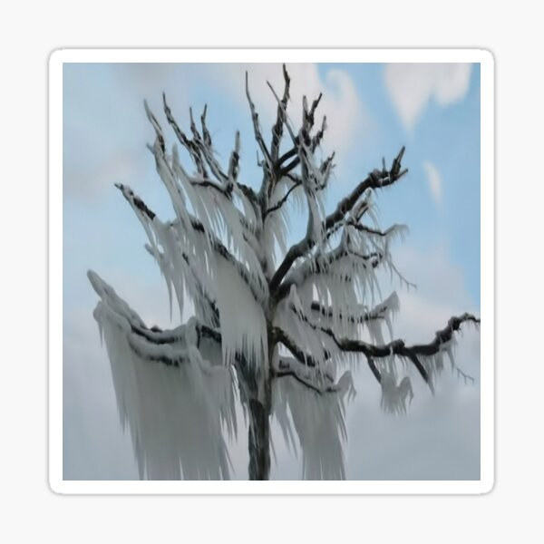TREE COVERED IN ICE DURING A WINTER STORM-PILLOWS-TOTE BAG-TEE SHIRT- CARD- PICTURE ECT... Sticker
