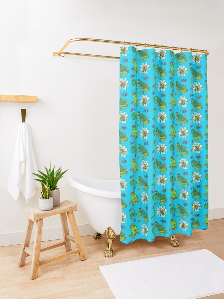 Alternate view of Happy pond Shower Curtain
