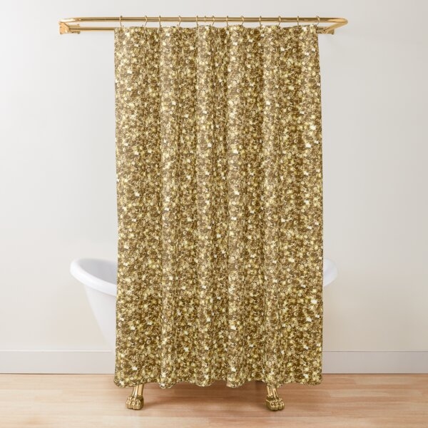 Sparkly Shiny Chunky Yellow Gold Gleaming Glitter Shower Curtain