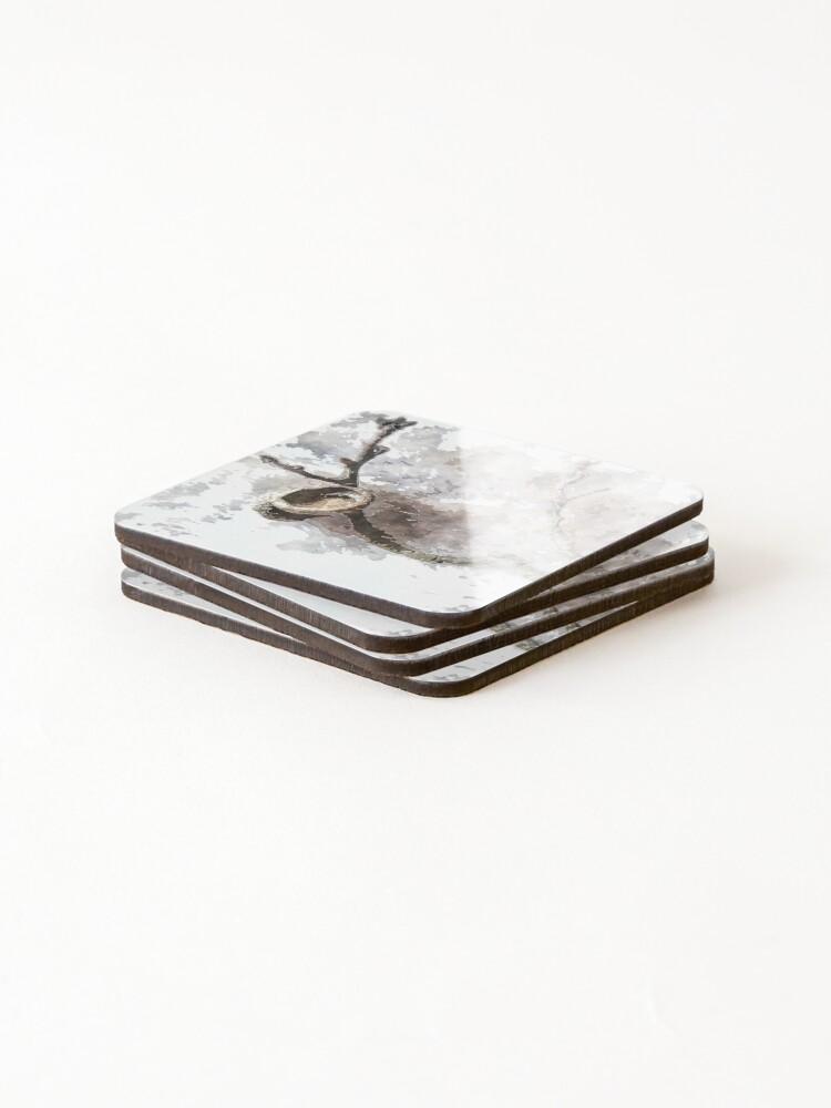 Alternate view of watercolor style Oak twig and acorn cap Coasters (Set of 4)