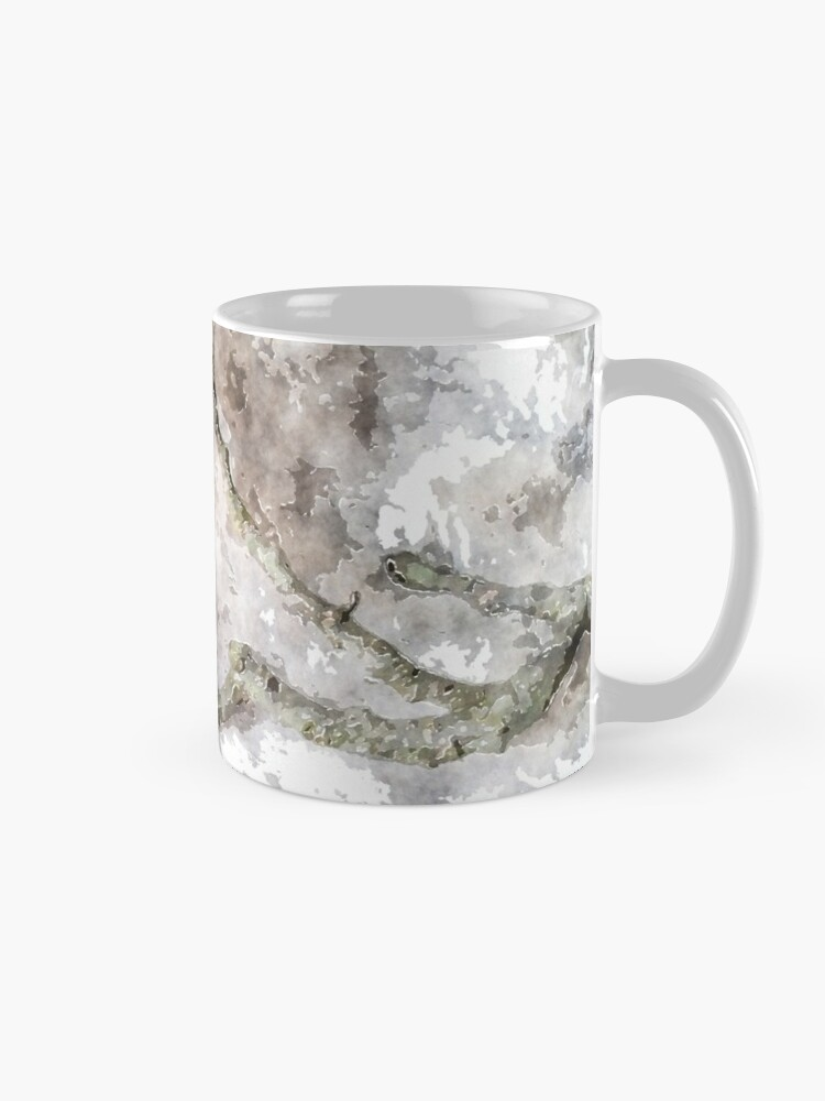 Alternate view of watercolor style Oak twig and acorn cap Mug