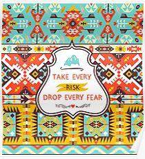 Aztec colorful fashion pattern Poster