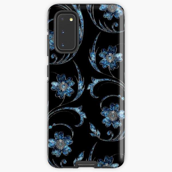 Perliges blaues Blumenmuster Samsung Galaxy Robuste Hülle