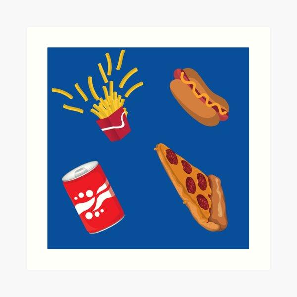 Fast Food Drive Thru Fries Pizza Hot Dog Soda Pattern Art Print