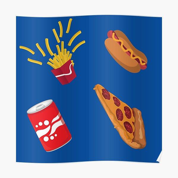Fast Food Drive Thru Fries Pizza Hot Dog Soda Pattern Poster