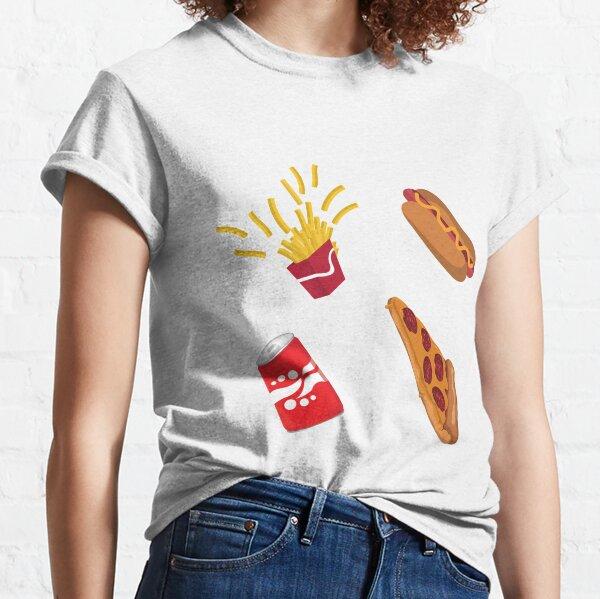 Fast Food Drive Thru Fries Pizza Hot Dog Soda Pattern Classic T-Shirt