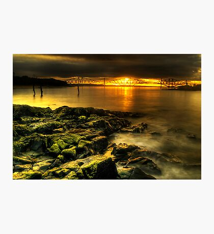 Rocky view towards the Forth Bridges Photographic Print